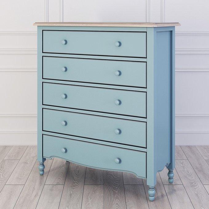Комод бельевой с пятью ящиками Leblanc голубого цвета