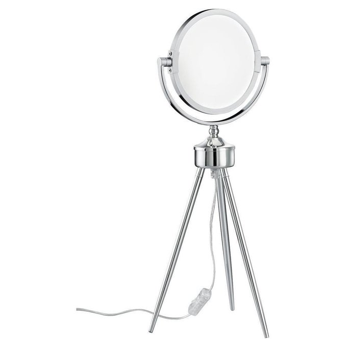 Настольная лампа с зеркалом серого цвета