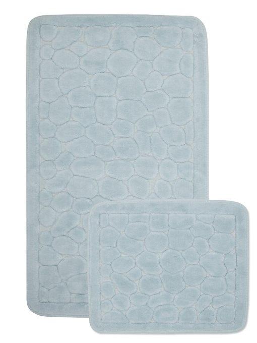Набор из двух ковриков для ванной из хлопка голубого цвета
