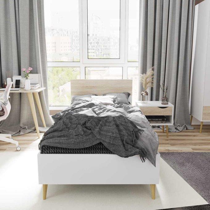 Кровать Oslo 90х200 с изголовьем цвета дуб