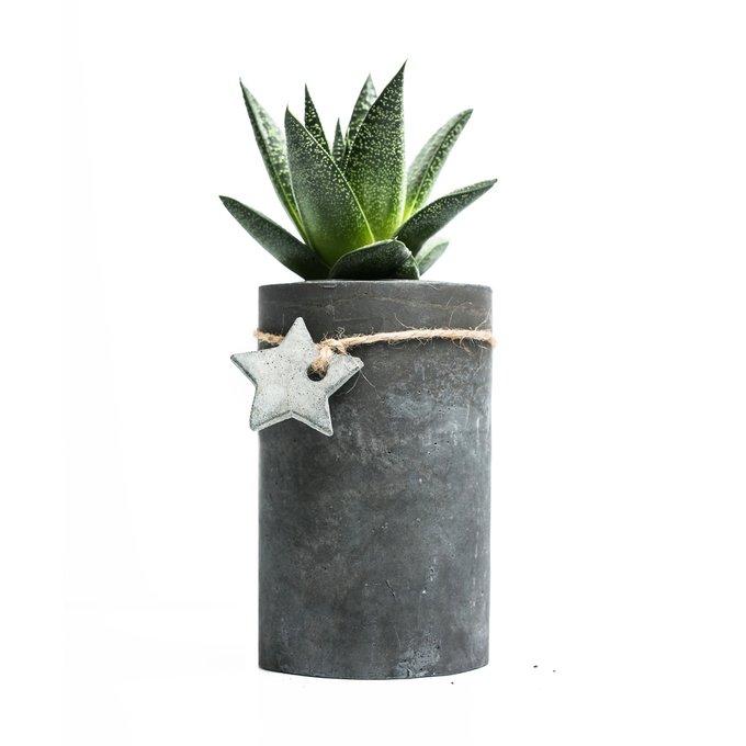 кашпо ЦИЛИНДР L  темно-серый бетон