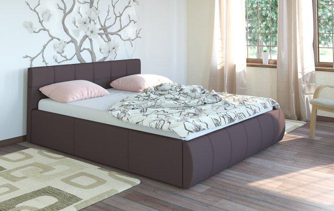 Кровать Афина коричневого цвета с подъемным ортопедическим основанием 160х200