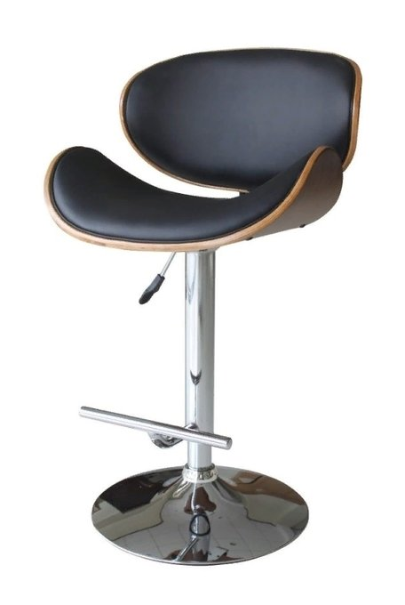 Барный стул на ножке из хромированного металла
