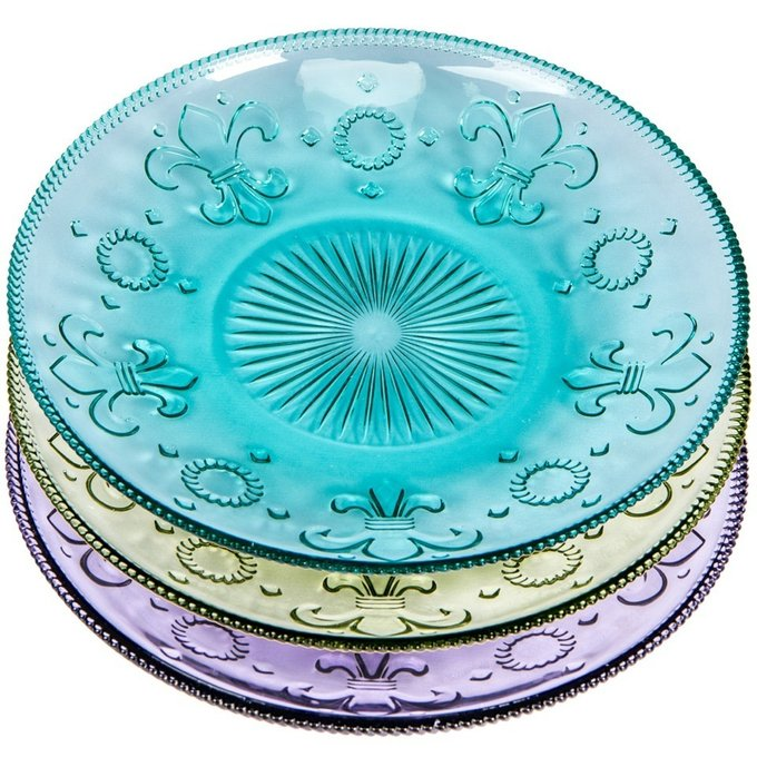 Набор тарелок Королевская лилия из стекла
