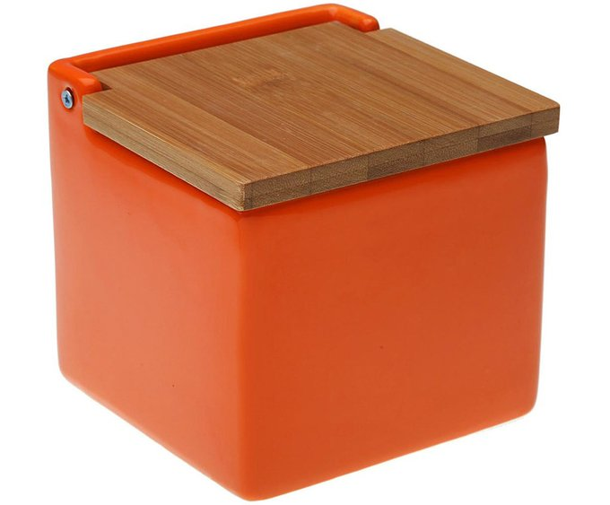 Солонка Bamboo Lid из керамики оранжевого цвета