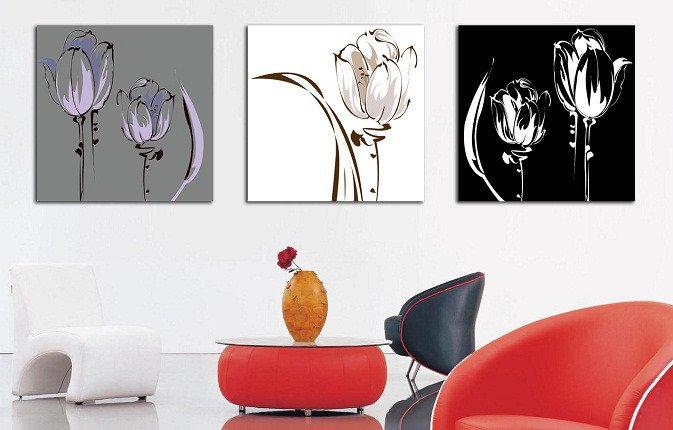 Декоративная картина на холсте: Силуэт тюльпана
