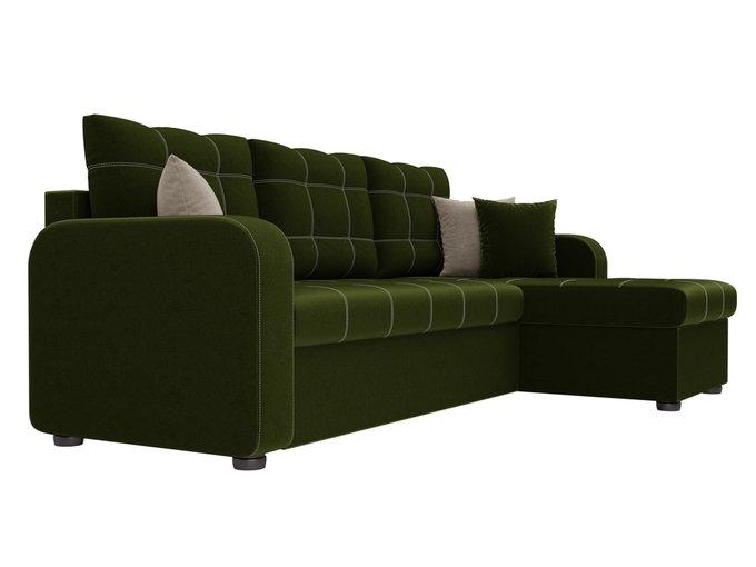 Угловой диван-кровать Ливерпуль зеленого цвета