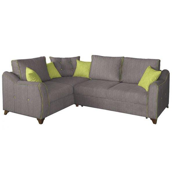 Угловой диван Френсис в обивке из велюра серо-коричневого цвета