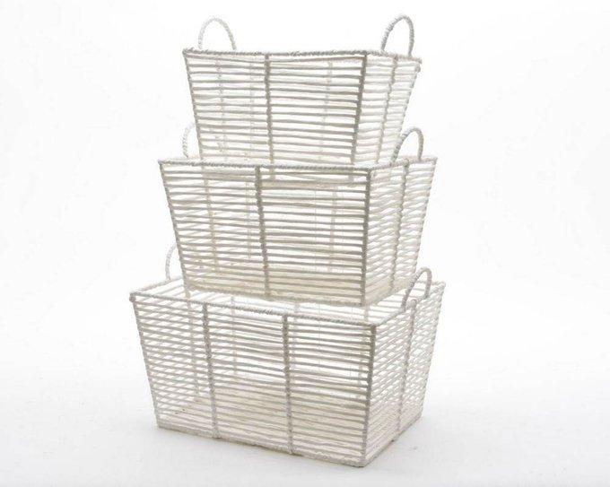 Сет из трёх прямоугольных корзин для хранения с ручками