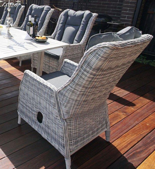 Регулируемое кресло из искусственного ротанга ВЕРОНА  с подушками