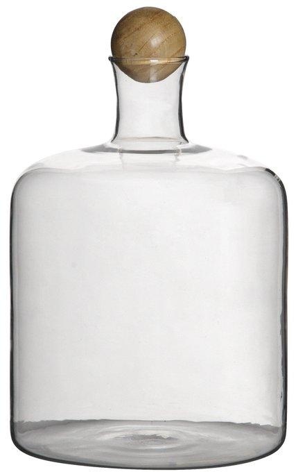 Ваза настольная Bottle Glass/wood