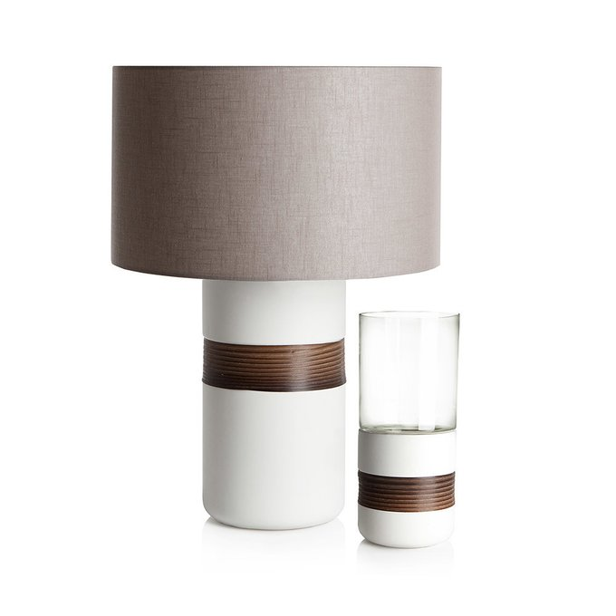 Подсвечник с деревянным декором Loca Nera Low Cylinder