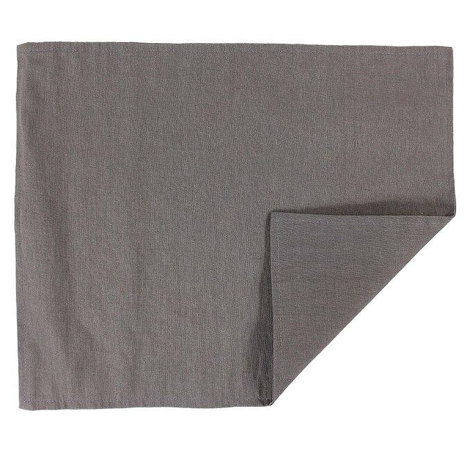 Двухсторонняя салфетка под приборы с декоративной обработкой темно-серого цвета