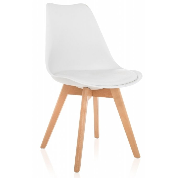 Деревянный стул Bonus белого цвета