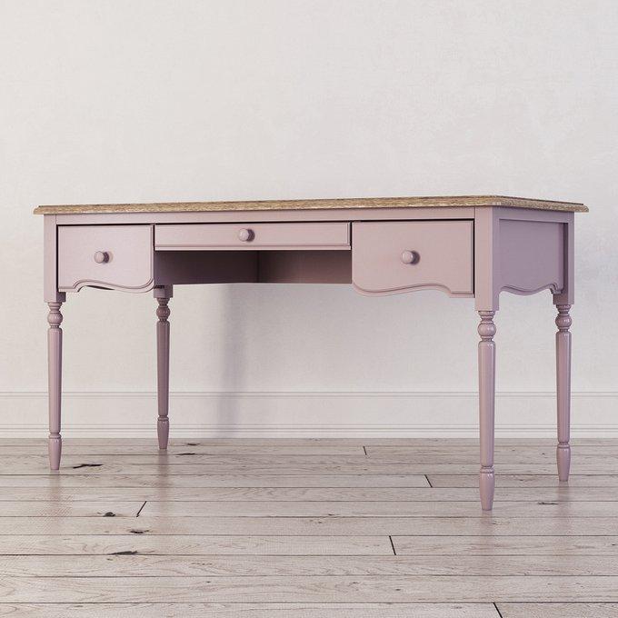 Письменный стол с тремя ящиками Leblanc лавандового цвета