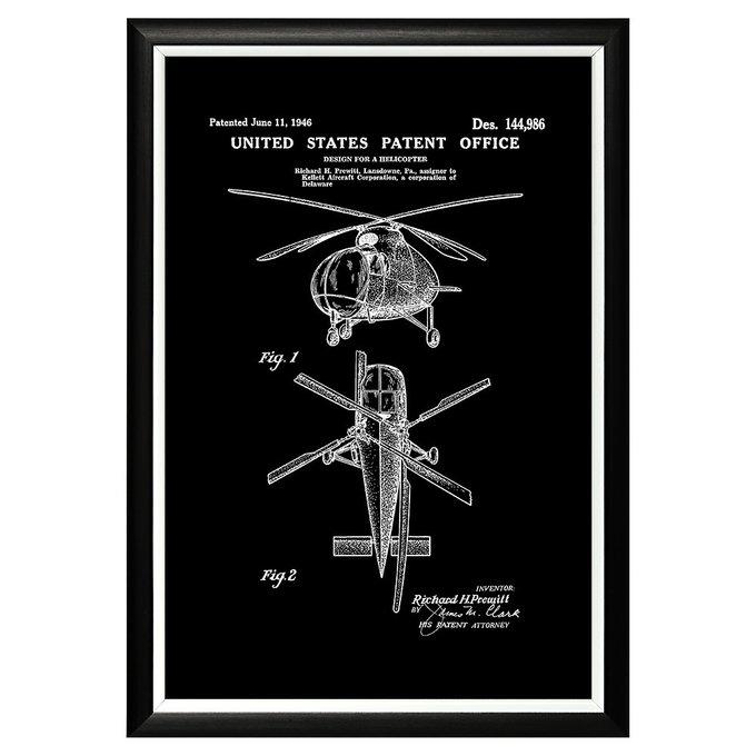 Арт-постер Патент на вертолет 1946 в раме из пластика