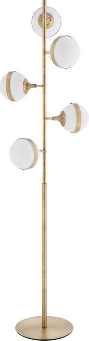 Торшер Brass с белыми плафонами
