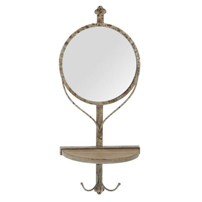 Настенное зеркало с деревянной полкой