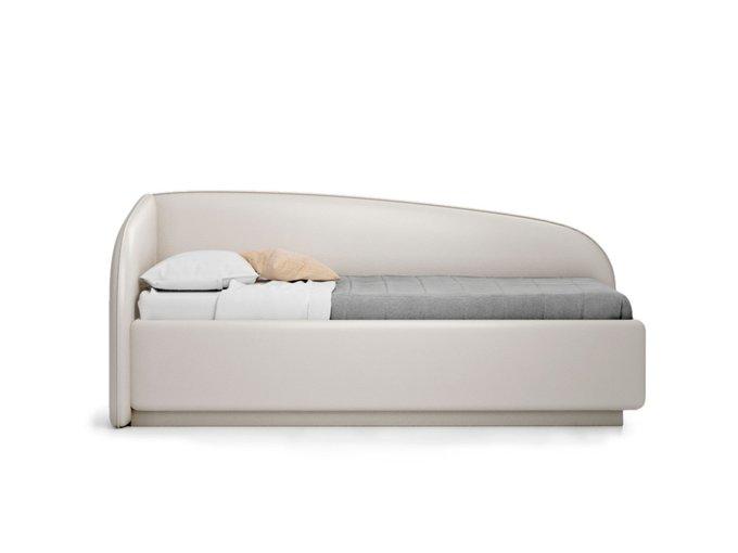 Кровать Amelia левая светло-бежевого цвета с решеткой 90х190