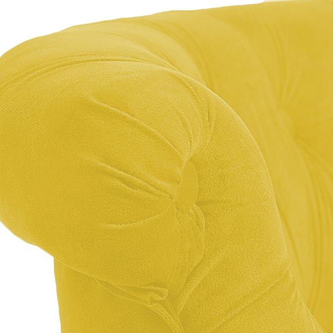 Кресло Amelie French Country Chair в обивке из велюра желтого цвета