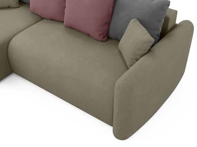 Угловой диван-кровать левый Arti бежево-коричневого цвета