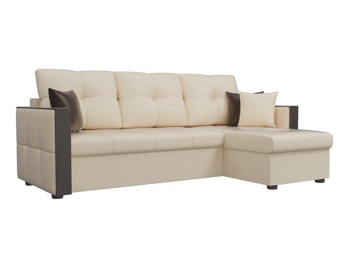 Угловой диван-кровать Валенсия бежевого цвета (экокожа)