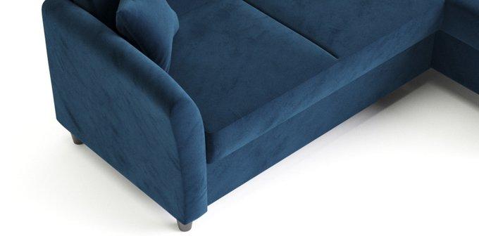 Угловой диван-кровать Катарина темно-синего цвета