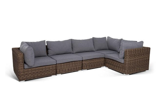Модуль прямой Лунго с подушками коричневого цвета