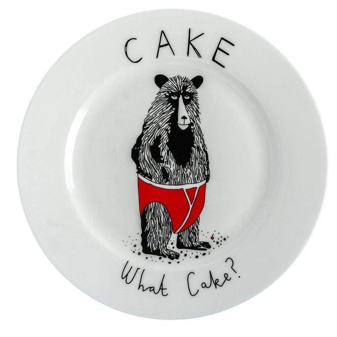 Большая тарелка Мишка в штанишках из керамики