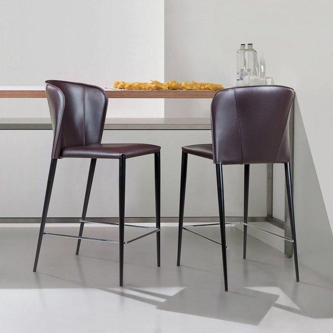 Полубарный стул Albert темно-коричневого цвета