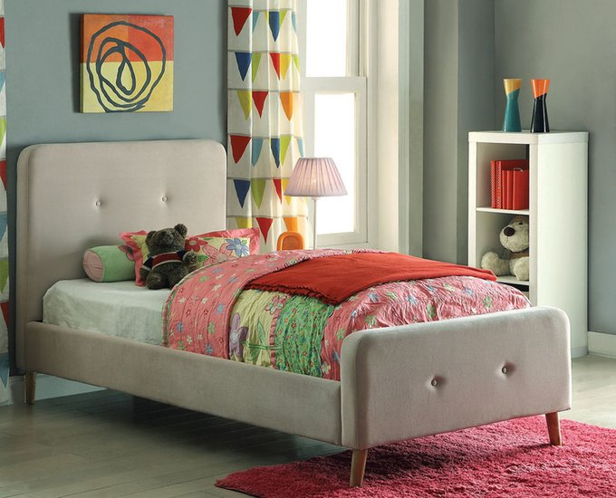 Кровать Button Tufted Flannelette Beige бежевого цвета 90х200