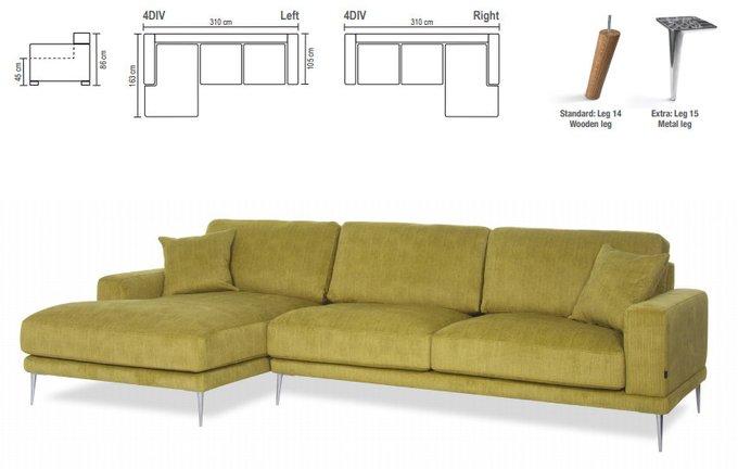 Угловой диван Perla со съемными чехлами зеленого цвета