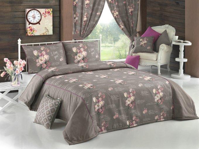 """Комплект для спальни: покрывало + 2 наволочки  """"тюльпаны и шоколад"""""""