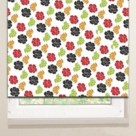 Рулонные шторы: Разноцветные розочки