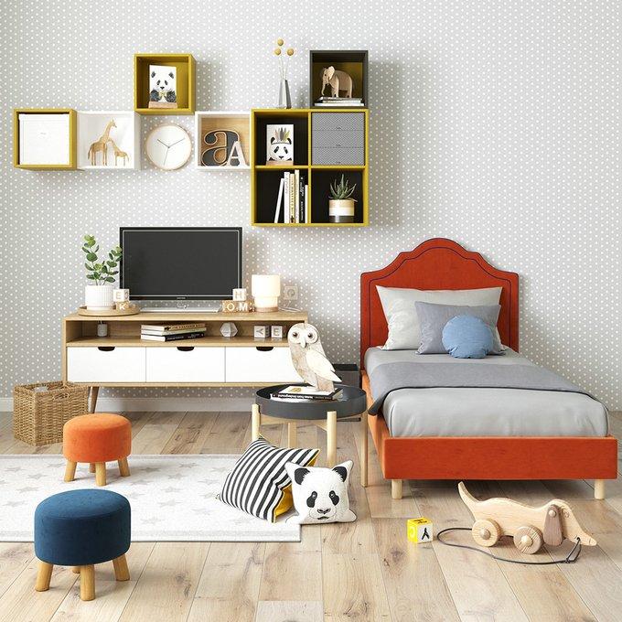 Односпальная кровать Kylie kids на ножках серого цвета 120х200