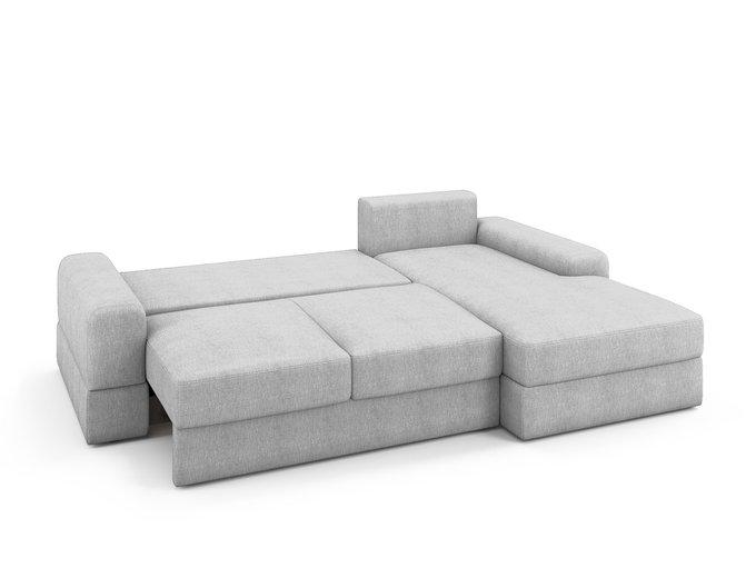 Угловой раскладной диван Elke правый светло-серого цвета