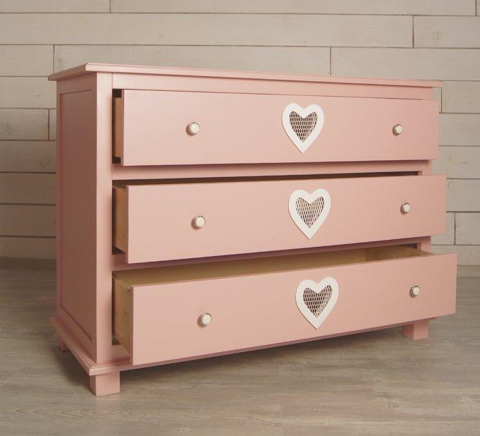 """Комод """"Adelina"""" с 3 ящиками в розовом цвете"""