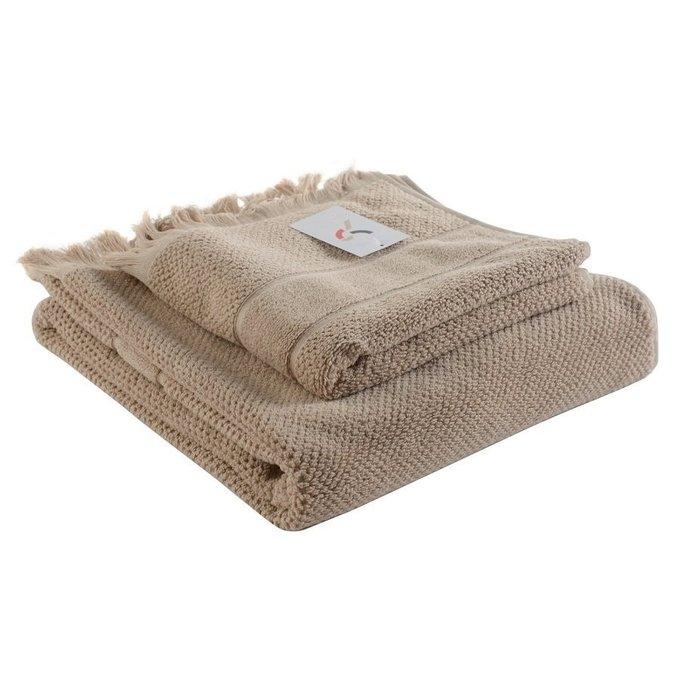 Полотенце банное с декоративной бахромой бежевого цвета