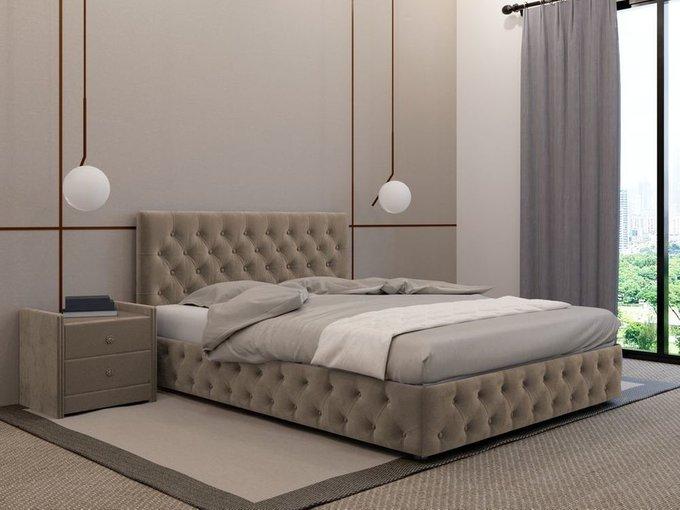 Кровать Кардинал бежевого цвета 120х200 с подъемным механизмом