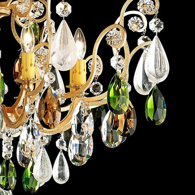 Потолочная люстра Renaissance Rock Crystal с хрустальными подвесками дымчатого и зеленого цвета