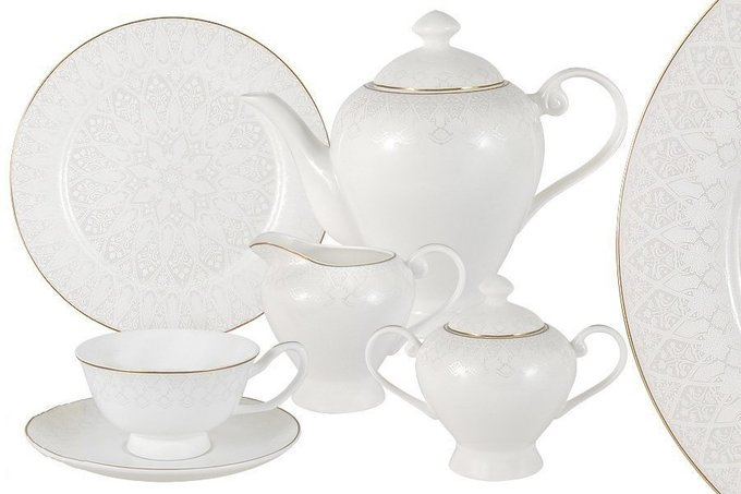 Чайный сервиз Кимберли белого цвета