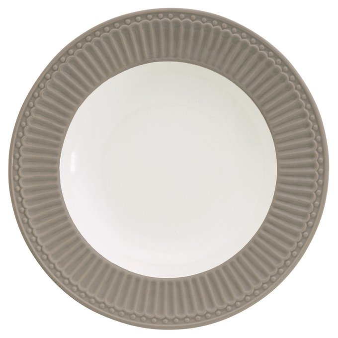 Глубокая тарелка Alice warm grey из фарфора