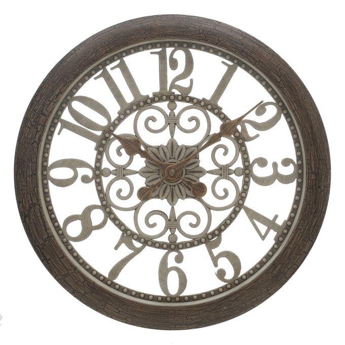 Часы настенные S круглые коричнево-серого цвета