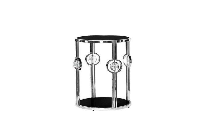 Кофейный столик с черным стеклом (серебряный)