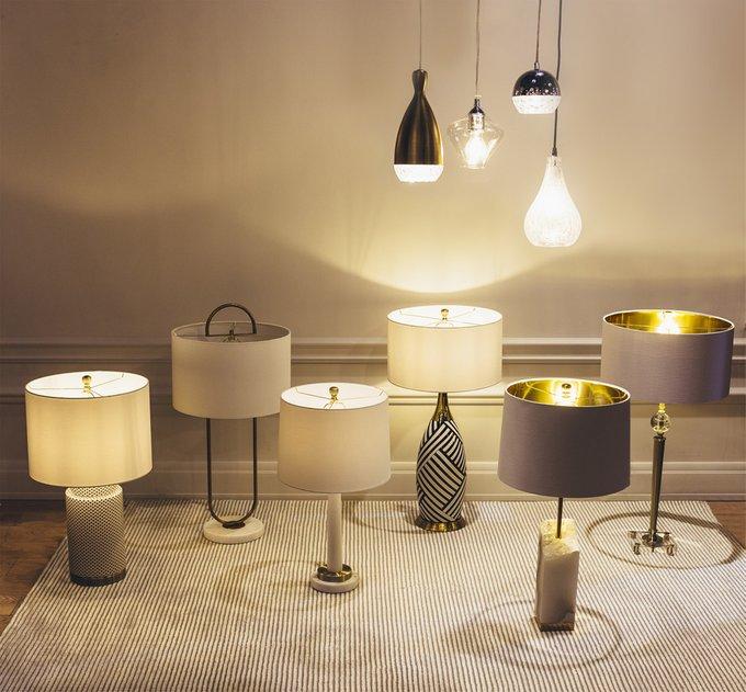 Керамическая Настольная лампа Mary White с белым абажуром