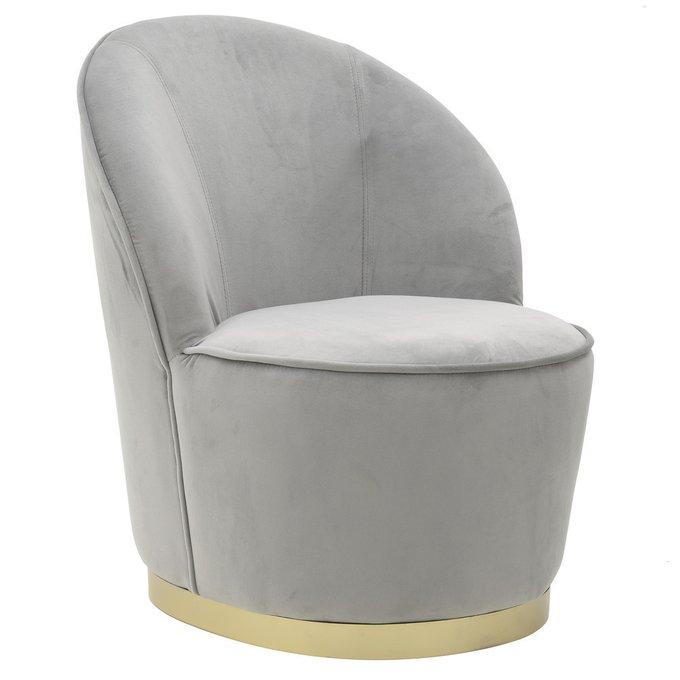 Кресло серого цвета с золотым основанием
