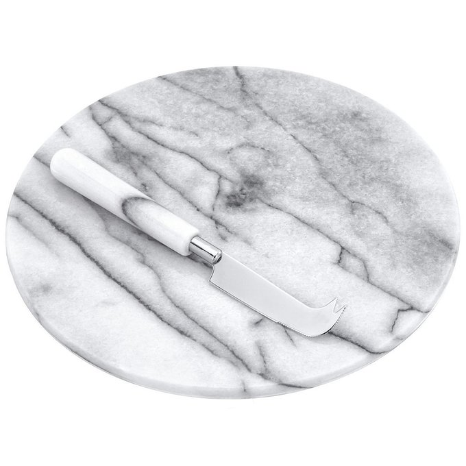 Доска сервировочная из мрамора Круглая
