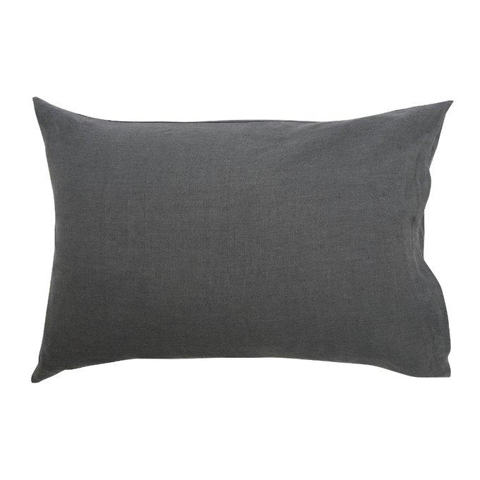 Наволочка изо льна темно-серого цвета