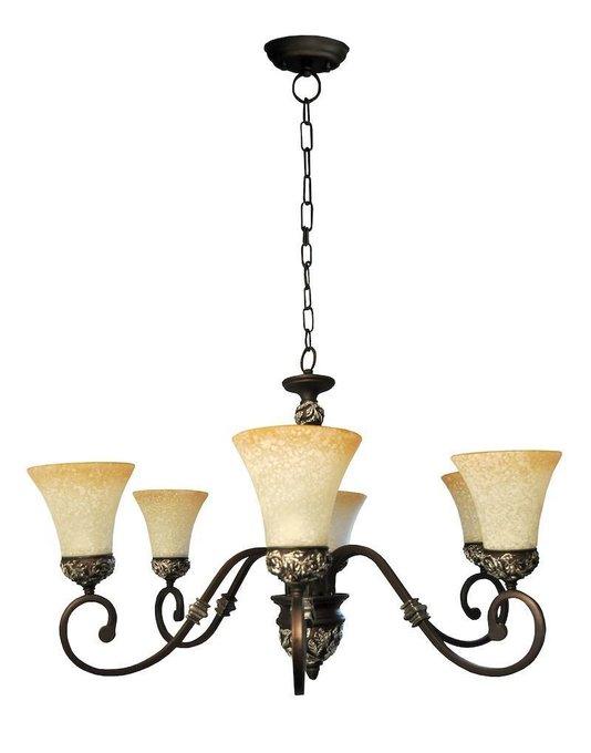 Люстра Living декорирована тонким литьем центрального элемента и оснований плафонов