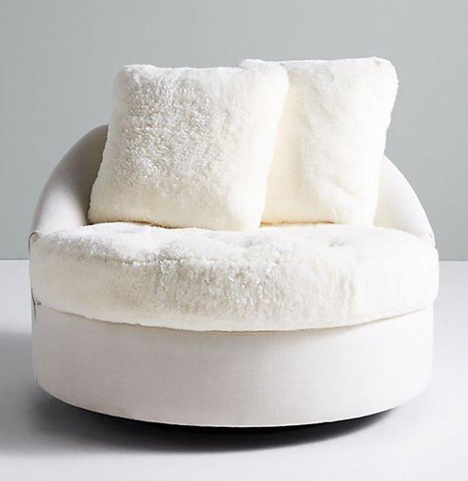 Кресло Wool Barwick Swivel белого цвета